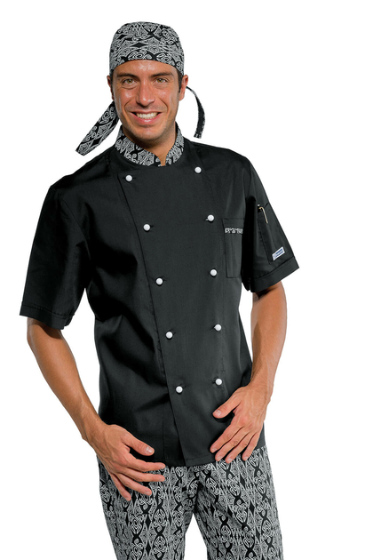 Veste de cuisine noire col fantaisie v tements de for Veste cuisine noire