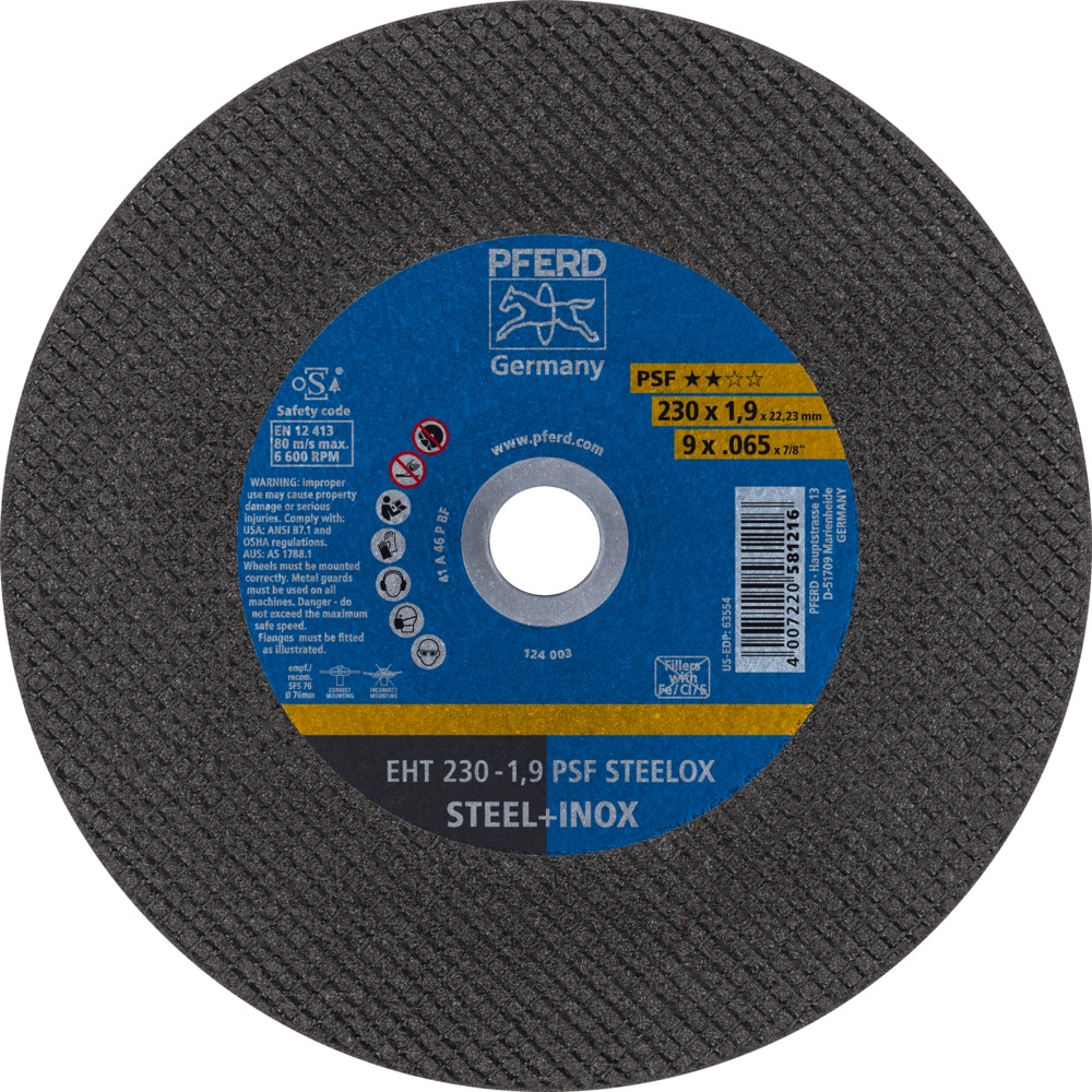 PFERD DISQUES A TRONCONNER EHT 230-1,9 PSF STEELOX