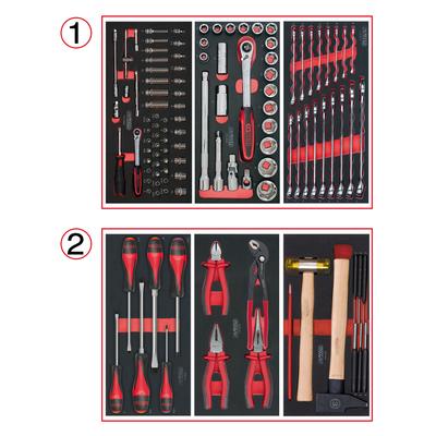 Composition d'outils 2 tiroirs pour servante, 114 pièces REF KS TOOLS 714.0114