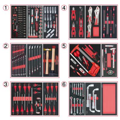 Composition d'outils 6 tiroirs pour servante, 202 pièces REF KS TOOLS 714.0202