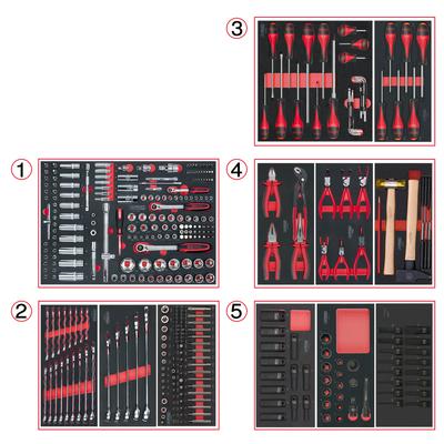 Composition d'outils 5 tiroirs pour servante, 384 pièces REF KS TOOLS 714.0380