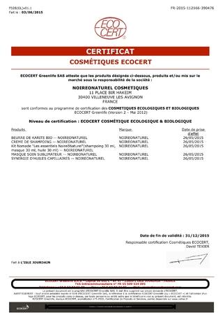 15.05.26 - Certificat ecocert - 31.12.2015
