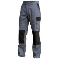 Pantalon de Travail Multipoches Avec Poche Genouillères Gris/Noir