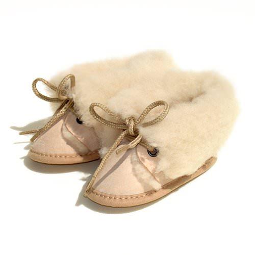 Chaussons Bébé en peau de mouton Beige