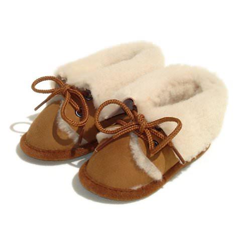 Chaussons Bébé en peau de mouton Marron naturel