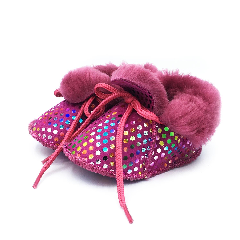 chausson-bebe-fantaisie-fourree-point-rose-agnellina.com