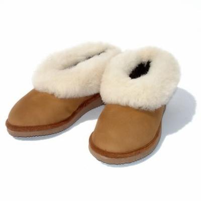 Chaussons fourrés en peau de mouton Marron