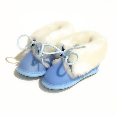 Chaussons Bébé fourrés en peau de mouton Bleu