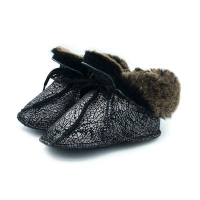 Chaussons Bébé en peau de mouton Fantaisie Noir Argenté