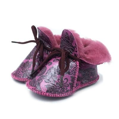 Chaussons Bébé en peau de mouton Fantaisie Rose/Violet