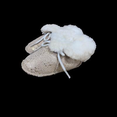 Chaussons Bébé en peau de mouton Fantaisie Beige Doré