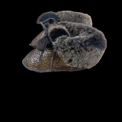 Chaussons Bébé en peau de mouton Fantaisie Bronze