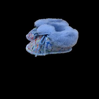 Chaussons Bébé en peau de mouton Fantaisie Bleu Motif