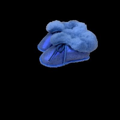 Chaussons Bébé en peau de mouton Fantaisie Bleu Electric