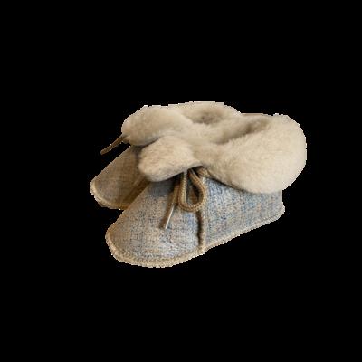 Chaussons Bébé en peau de mouton Fantaisie Beige Bleuté