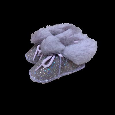 Chaussons Bébé en peau de mouton Fantaisie Rose/Argenté