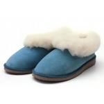 Chaussons fourrés en peau de mouton Bleu