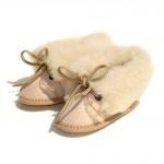 Chaussons Bébé fourrés en peau de mouton Beige Naturel