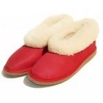 Chaussons fourrés en peau de mouton Rouge