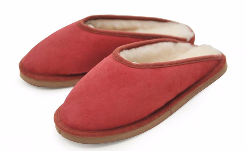 Pantoufles en peau de mouton Rouge