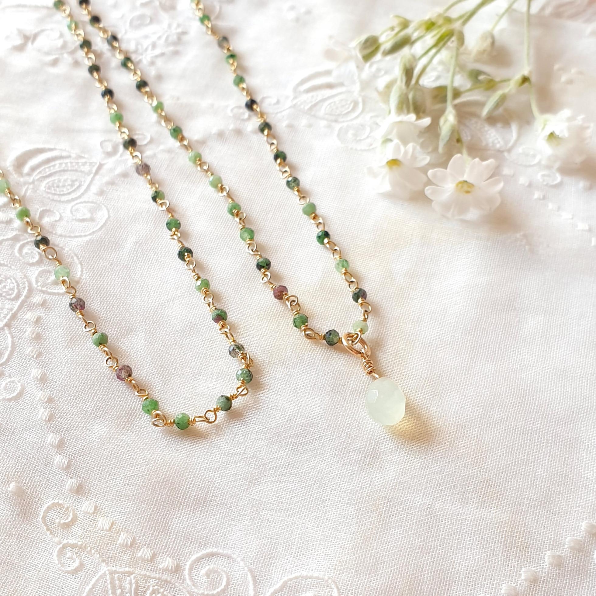 LUMINEUSE rubis zoïsite (vert) or
