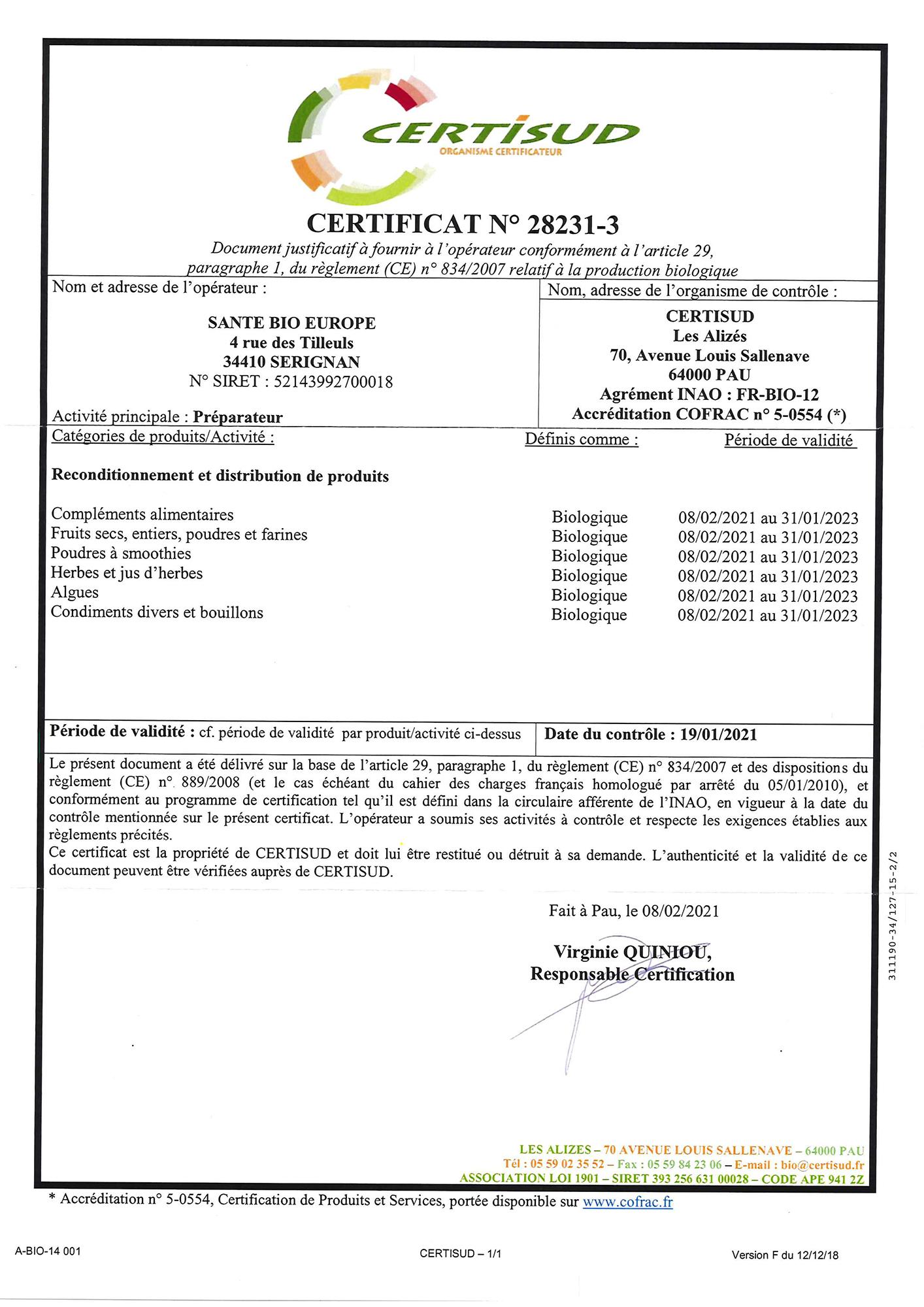 Certificat Biologique Santé Bio Europe