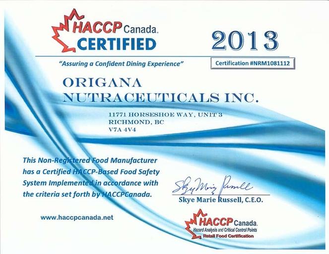 Origana - HACCP Canada Certification