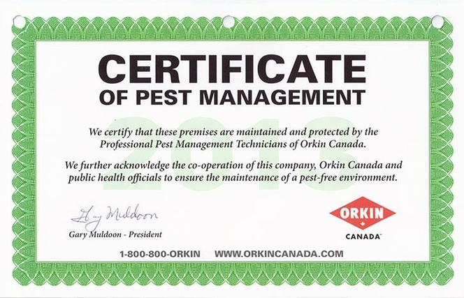 Orkin Certificate of Pest Management