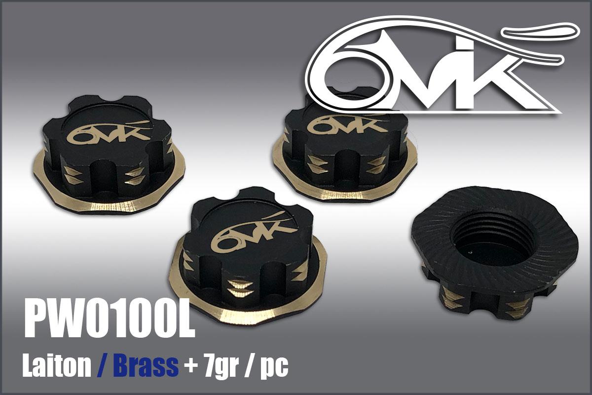 6MIK Ecrous de roue borgne noir & or en laiton (4pcs), PW0100L