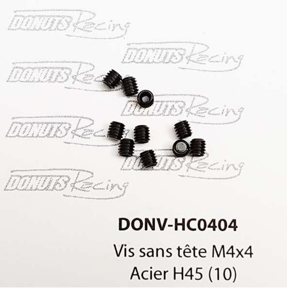 DONUTS-RACING Vis sans tête M4x4 Acier H45 (10) DONV-HC0404