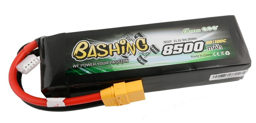 Gens ace Batterie LiPo 3S 11.1V-8500-45C(XT90 Dual) 155x45x31mm 518g, GE3-8500-3X9