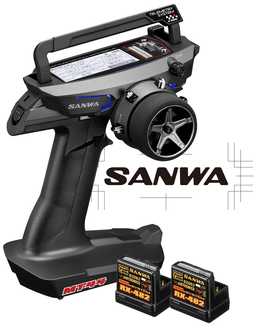 SANWA RADIO MT-44 PC + 2 RECEPTEURS RX482, 101A32171COMBO