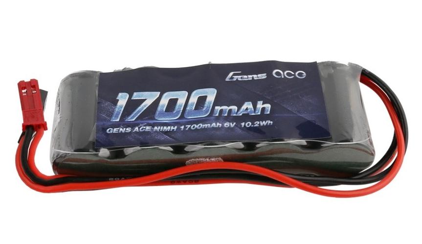 GENS ACE RX PACK NiMh 6.0V-1700 (Dual JR-JST PLUG) STRAIGHT, GE6-1700S-JJ