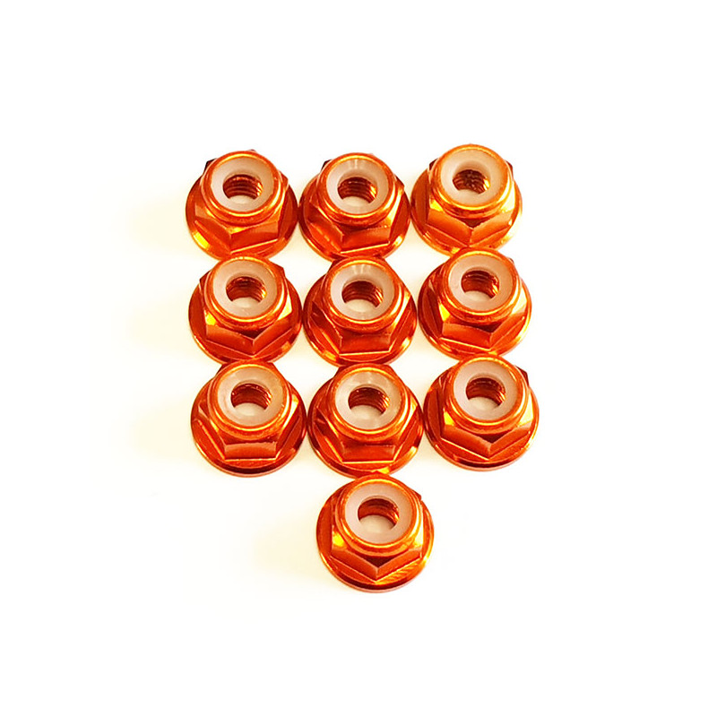 DONUTS-RACING Ecrou Nylstop M4 Epaulé Orange (10) DONV-0125