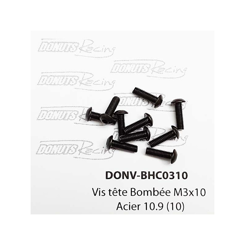 DONUTS-RACING Vis tête Bombée M3x10 Acier 10.9 (10) DONV-BHC0310