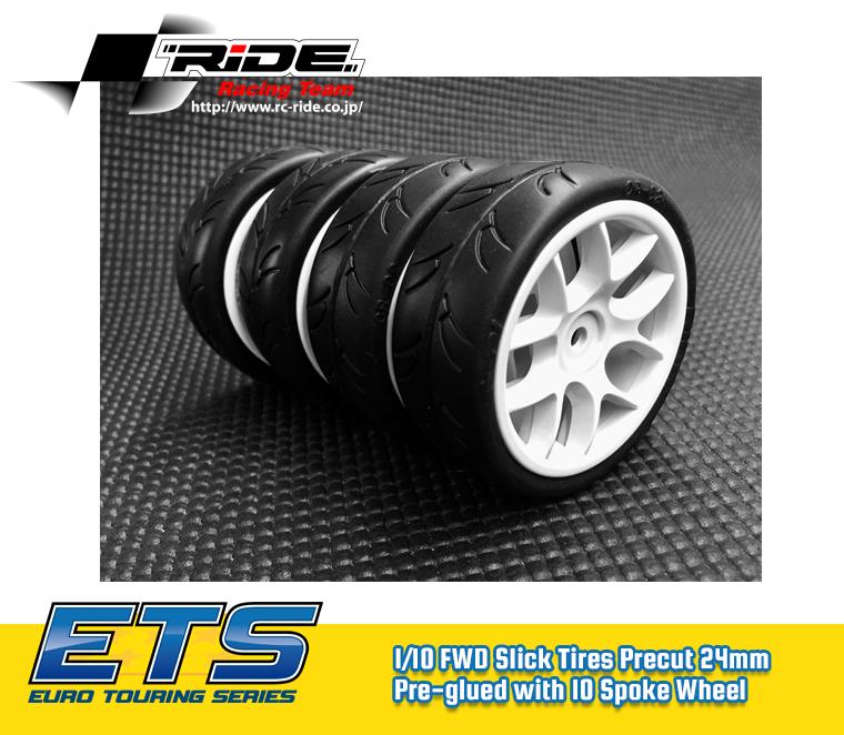 Ride 1/10 Slick Tires Precut 24mm Pre-glued with 10 Spoke Wheel White (4pcs)  FWD -  26072