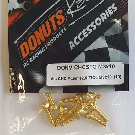 DONUTS-RACING Vis CHC Acier 12.9 TiCo M3x10 (10) DONV-CHCSTG M3x10