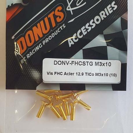 DONUTS-RACING Vis FHC Acier 12.9 TiCo M3x10 (10) DONV-FHCSTG M3x10