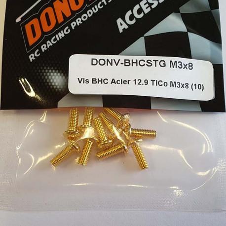 DONUTS-RACING Vis BHC Acier 12.9 TiCo M3x8 (10) DONV-BHCSTG M3x8