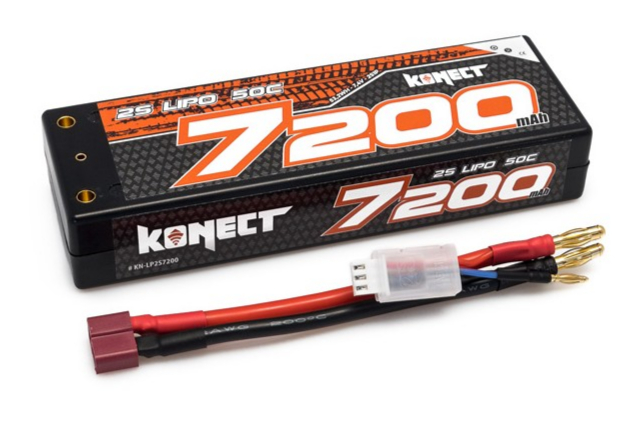 Konect Lipo 7200mah 7.4V 50C 2S1P 53.2Wh (Slim Pack Dean ), KN-LP2S7200