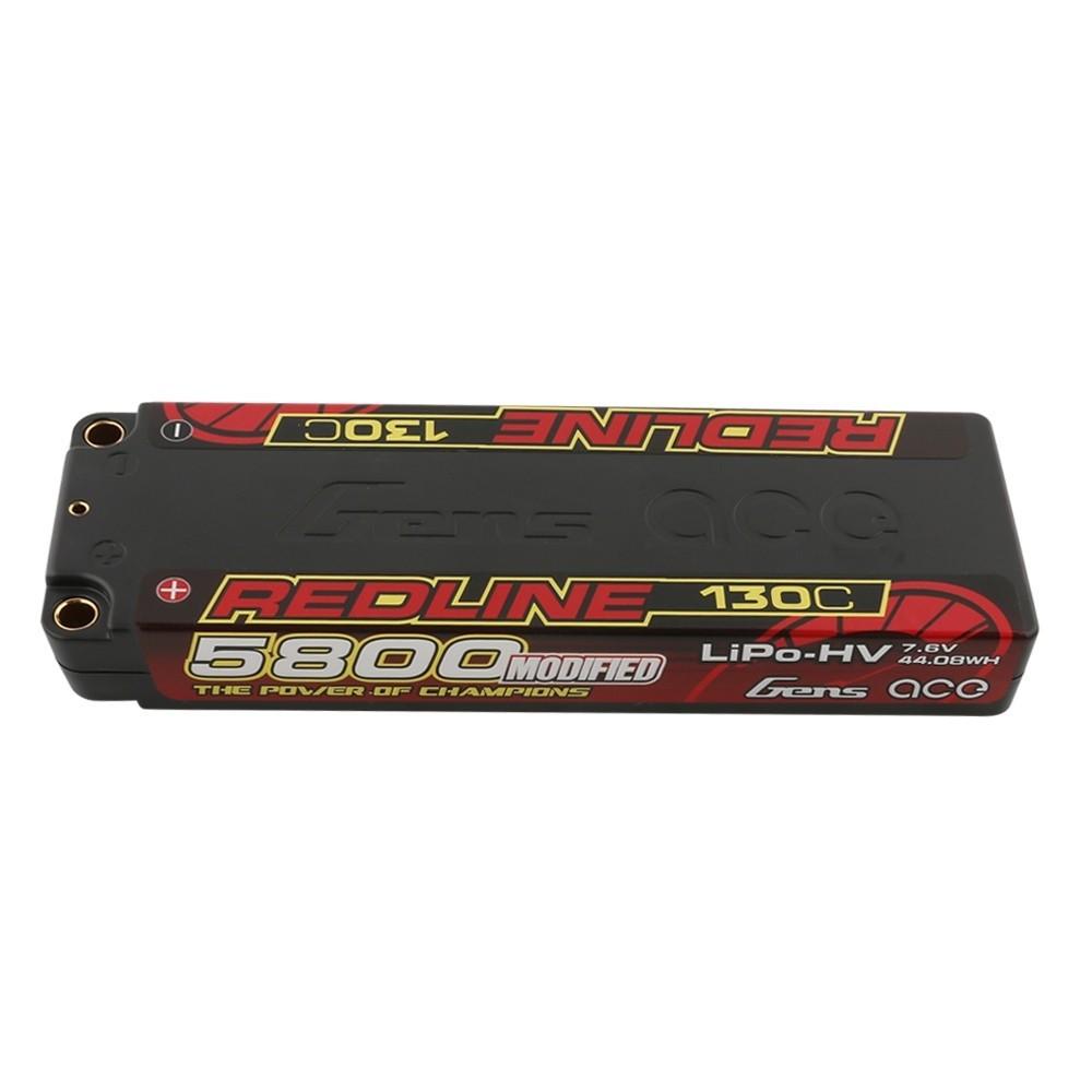 Gens ace Batterie LiPo 2S HV 7.6V-130C-5800 (5mm) 139x48x19mm 225g, B-RL-130C-5800-2S1P-HC-56-HV