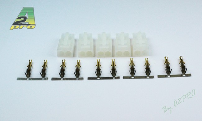 A2P Connecteur mâle plaqué OR Tamiya (5 pièces), 14531
