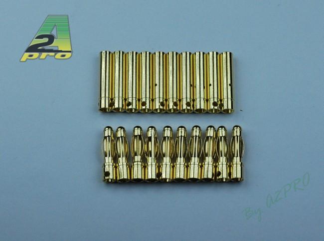 A2P Contact plaqué OR 4mm mâle et femelle (10 paires), A2P14040