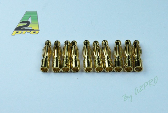A2P Contact mâle plaqué OR 4mm (10 pièces), 14041
