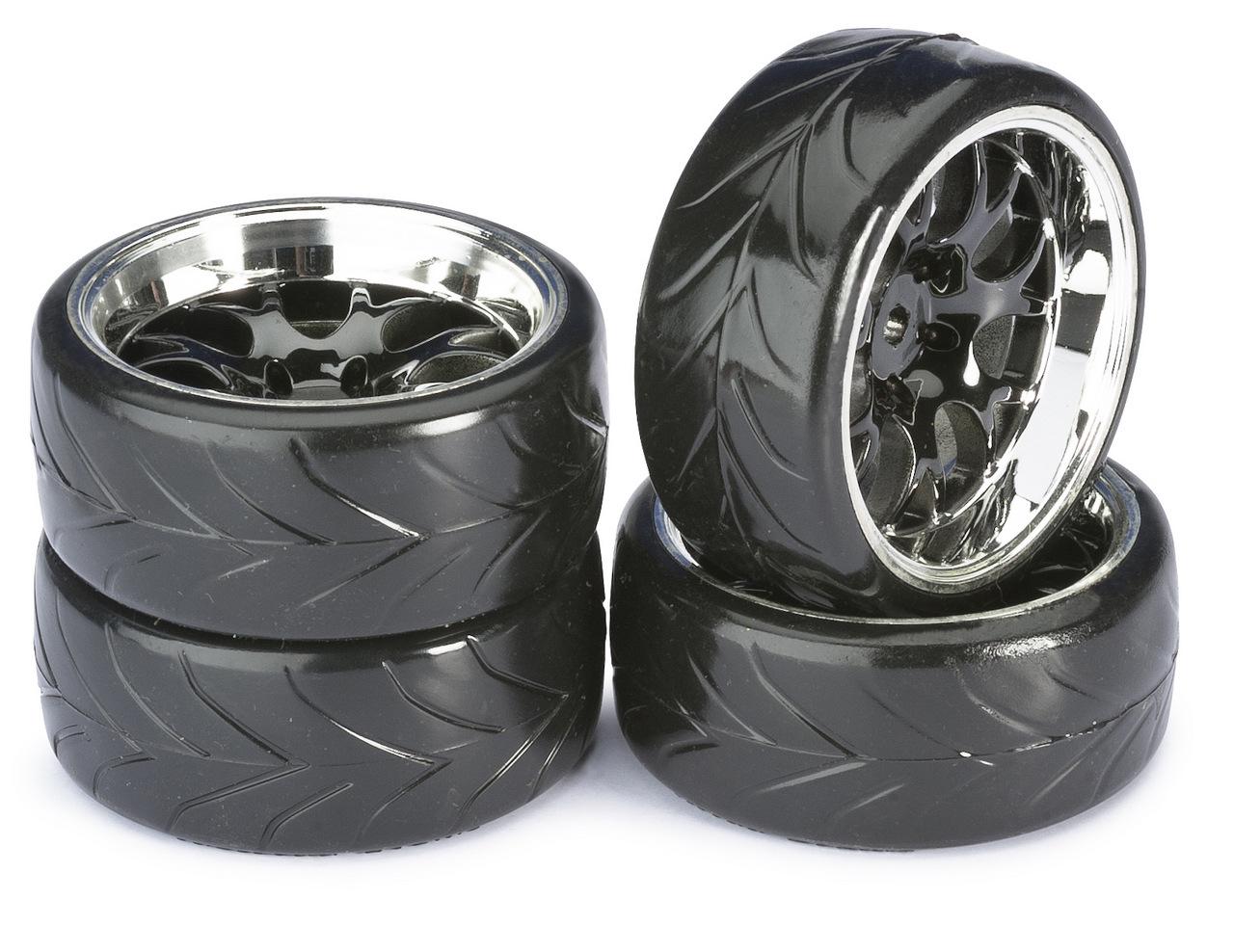 ABSIMA Train de roues Drift LP Comb/Profile A noir/chromé 1/10ème (4pcs), 2510040