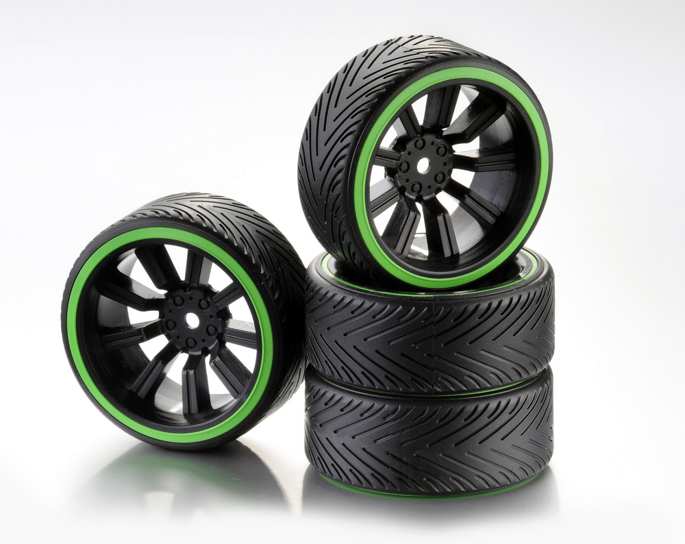 ABSIMA Train de roues Drift 9 Rayon Comb/Profile A Jantes noir / Bague néon vert 1/10ème (4pcs), 2510049
