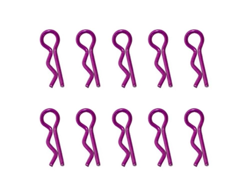 HOBBYTECH Clips de carrosserie violet anodisés 1/10ème 10pcs, HT-502381P
