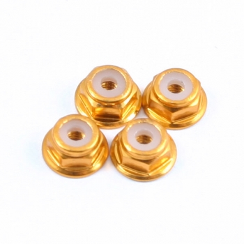 Fastrax M2 Gold Flanged Locknuts 4Pcs, FTM2GF
