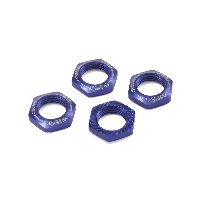 Kyosho Ecrous de Roues Cannelés 1/8 (x4) Bleu, IFW472BL