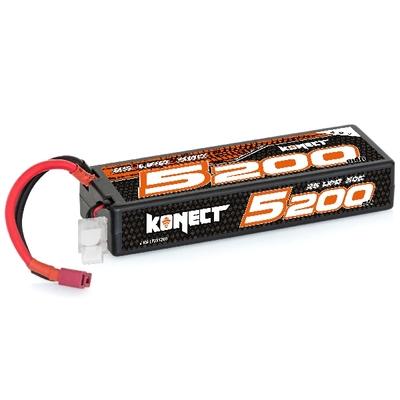 KONECT Lipo 5200mah 7.4V 50C 2S1P 38.4Wh (Slim Pack Dean ), KN-LP2S5200